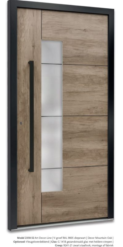 Modern Model 2350-52 V-groef Ral9005 diepzwart, Decor Montain Oak
