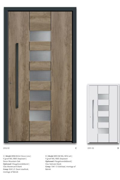 Modern Model 2352-52 V-groef Ral9005 diepzwart, Decor Montain Oak