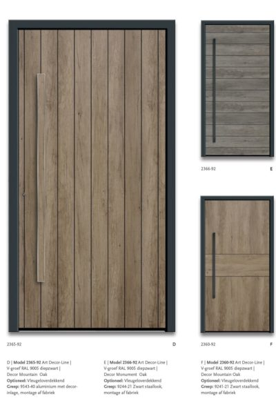 Modern Model 2365-52 V-groef Ral9005 diepzwart, Decor Montain Oak